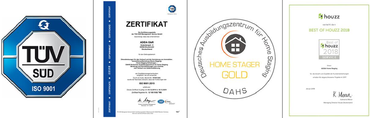 ADDA Home Staging - Zertifizierungen