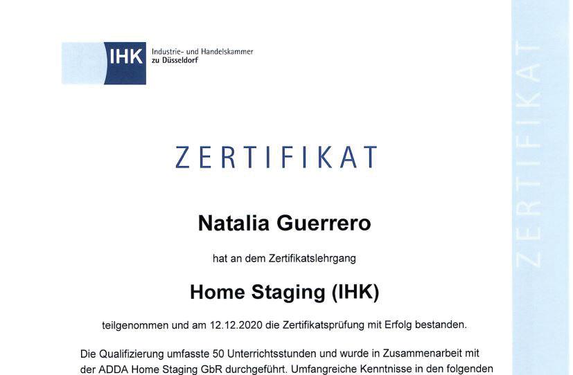 IHK-Zertifikat Natalia Guerrero
