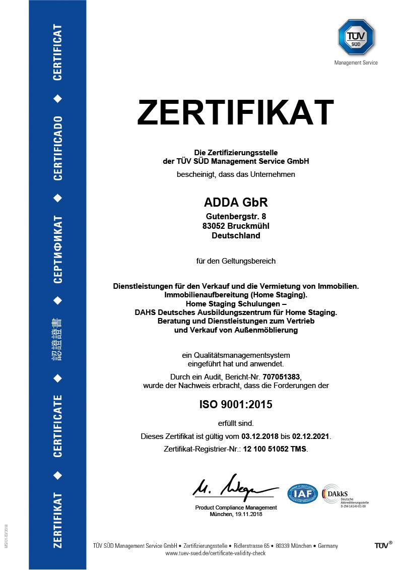 ADDA TÜV-Zertifizierung
